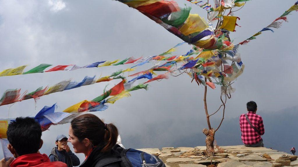 banderas de rezo en Anapurnas, Nepal